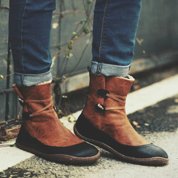 Winter Leather Flat Heel Boots