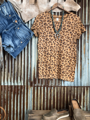 Leopard Casual Crew Neck Shirts & Tops