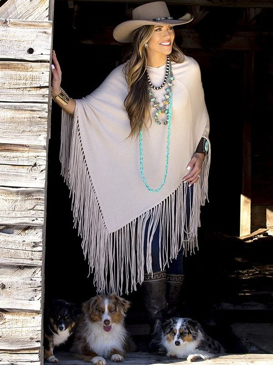 Western cowboy long fringed shawl