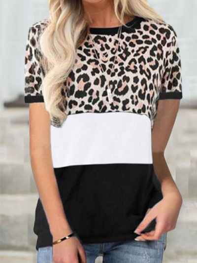 Cotton-Blend Leopard Short Sleeve Shirts & Tops