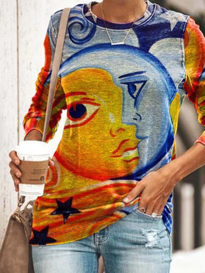 Long Sleeve   Printed  Polyester   Crew Neck Top