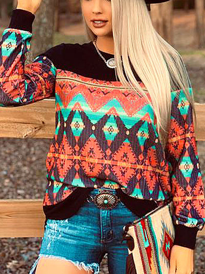 Cotton-Blend Vintage Geometric Long Sleeve Shirts & Tops