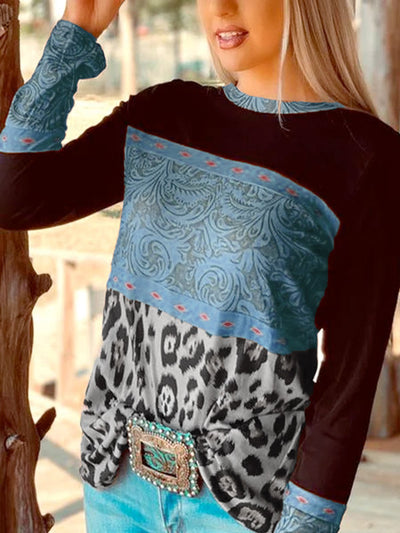Leopard Long Sleeve Casual Shirts & Tops