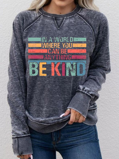 Black Long Sleeve Casual Crew Neck Women's BE KIND Print Sweatshirt