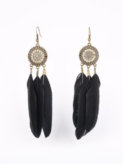Vintage Sun Flower Earrings Fashion Feather Tassel Earrings