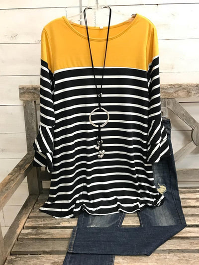 Crew Neck Striped Long Sleeve Casual Shirts & Tops