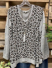 Casual Long Sleeve Color-Block Leopard Shirts & Tops