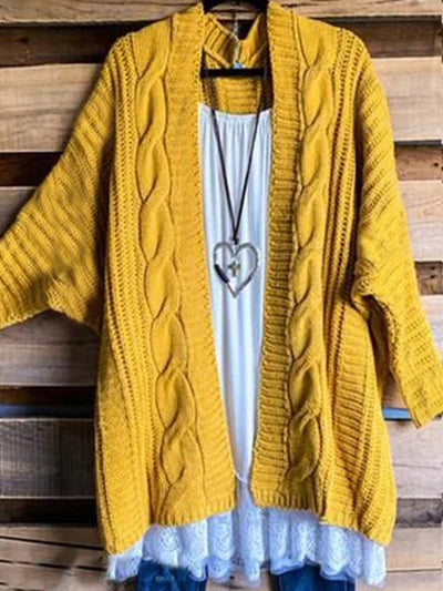 Yellow Solid Casual Round Neck Sweater