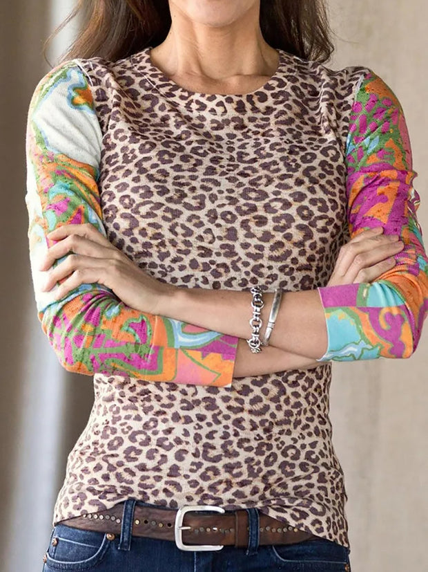Cotton Crew Neck Leopard Long Sleeve Shirts & Tops