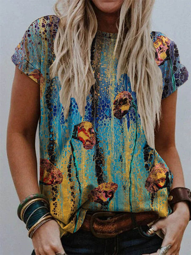 Floral Crew Neck Printed Casual Shirts & Tops
