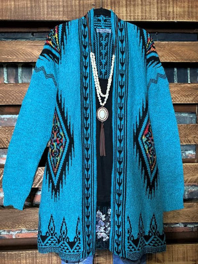 Ethnic Print Loose Fitting Knit Cardigan Sweater
