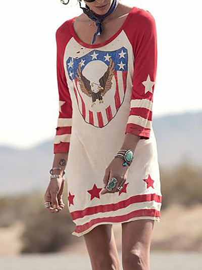 Casual 3/4 Sleeve Color-Block Dresses