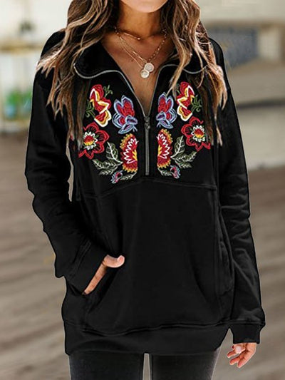 As Picture Cotton-Blend Embroidered Casual Sweatshirt