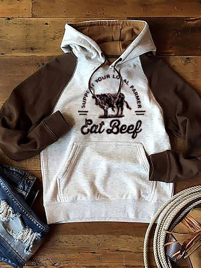 Brown Hoodie Casual Animal Shift Sweatshirt