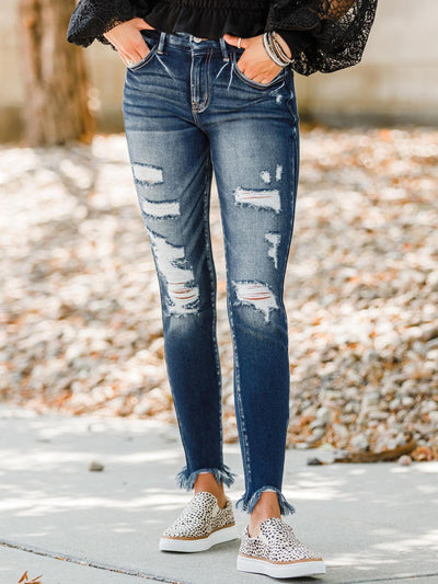 Blue Sheath Denim Pants