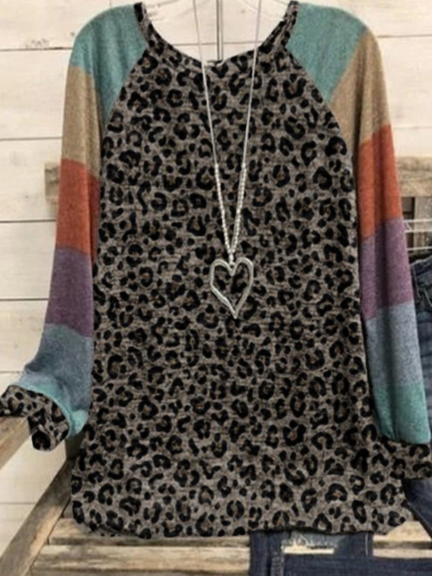 Leopard Casual Round Neck Geometric Cotton-Blend Shirts & Tops