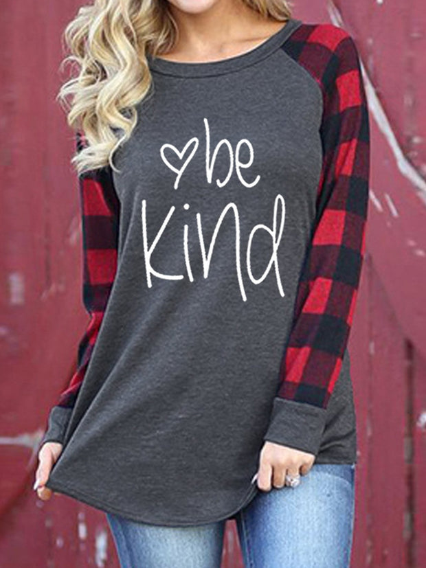 Red Casual Printed Letter Round Neck Shirts & Tops