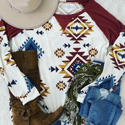 Tribal Printed Cotton-Blend Long Sleeve Shirts & Tops