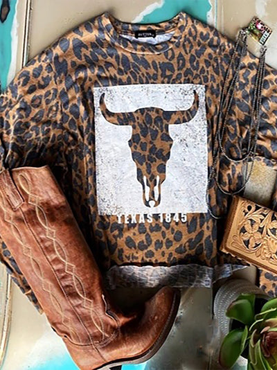 Leopard Casual Shift Animal Crew Neck Shirts & Tops