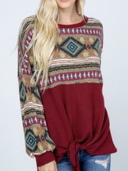 Red Printed Long Sleeve Shirts & Tops