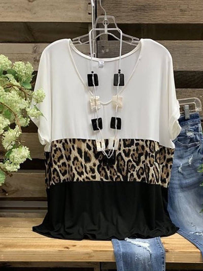 Leopard Paneled V Neck Casual Shirts & Tops
