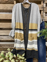 Long Sleeve Knitted Casual Color-Block Outerwear