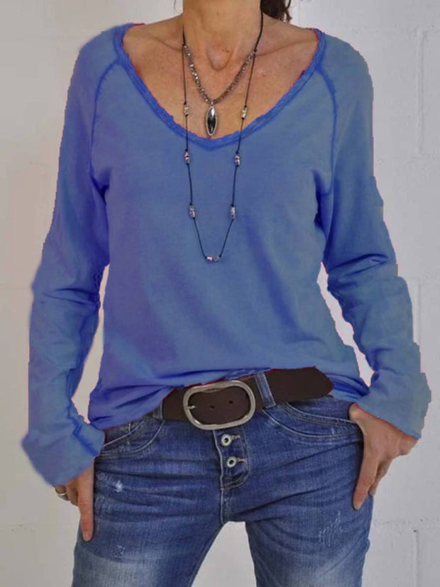 Cotton-Blend Plain Casual V Neck Long Sleeve Tops