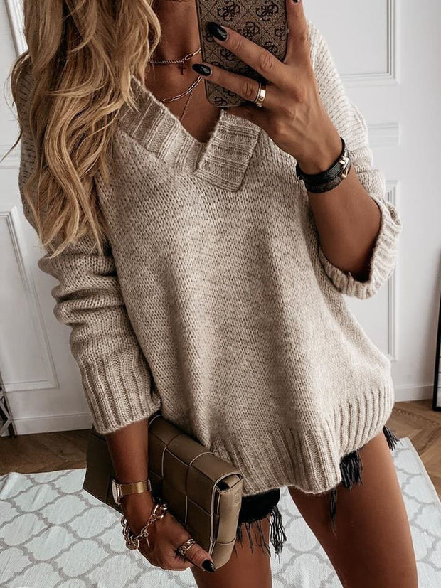 Khaki Shift Casual V Neck Plain Sweater