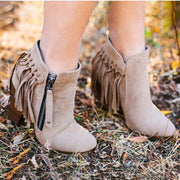 Winter Block Heel Leather Boots