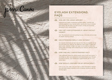 Load image into Gallery viewer, Elegant Eyelash Extensions Aftercare Guide & FAQs - Lash Extension Business, Eyelash Extension Guide, Lash Extension Business Forms, Canva
