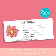 Load image into Gallery viewer, Gift Certificate Template Editable Printable - DOWNLOAD NOW gift card printable template printable, gift certificate editable