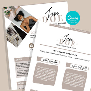 Press Kit Canva - Social Media Kit, 2 Page Media Kit, Influencer Kit, Influencer Price List, Instagram Influencer, Pitch Kit, Rate Sheet