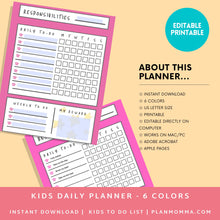 Load image into Gallery viewer, To do List Kids Checklist - Printable Kid To Chore List - Child Daily Planner - Kid Organizer | Instant Download ,Editable