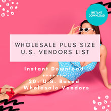 Load image into Gallery viewer, Plus Size Vendor List Wholesale - US Based ONLY | Wholesale Plus Size Clothes, Plus Size Vendors, Plus Size Women Clothes, Instant Download