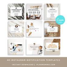 Load image into Gallery viewer, 40 Notifications and Reminders Instagram Templates - Instagram Templates Bundle, Social Media Templates, Notification And Engagement Booster