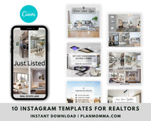 Load image into Gallery viewer, Realtors Instagram Post Templates - 10 Social Media Templates for Canva, Editable Realtor Agent Branding Posts, Modern Real Estate Design,