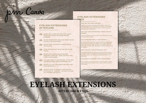 Elegant Eyelash Extensions Aftercare Guide & FAQs - Lash Extension Business, Eyelash Extension Guide, Lash Extension Business Forms, Canva