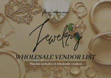Load image into Gallery viewer, 15 Jewelry Vendor List - Fashion Jewelry | Wholesale Jewelry, wholesale earrings, wholesale bracelets, wholesale rings, wholesale necklace
