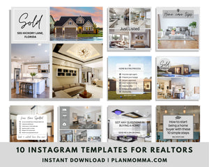Realtors Instagram Post Templates - 10 Social Media Templates for Canva, Editable Realtor Agent Branding Posts, Modern Real Estate Design,
