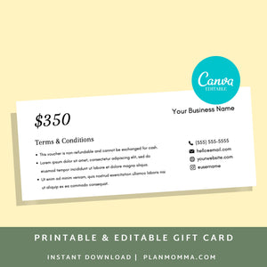 Gift Voucher Template - Instant Download | Printable gift card, printable gift certificate, canva gift certificate, editable gift card