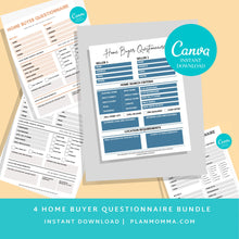 Load image into Gallery viewer, 4 Real Estate Buyer Questionnaire Bundle - 4 Home Buyer Form, Real Estate Marketing, Seller Intake Form, Printable Real Estate Form, Canva