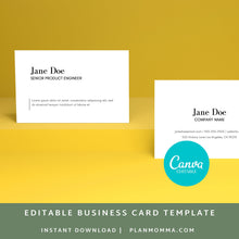Load image into Gallery viewer, Modern Business Card | Instant Download Printable Canva Template, Business Card, Custom Business Card DIY Business Card Simple Business Card