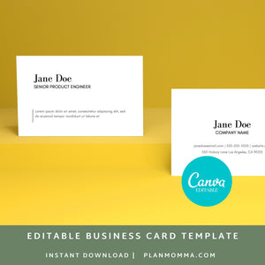 Modern Business Card | Instant Download Printable Canva Template, Business Card, Custom Business Card DIY Business Card Simple Business Card