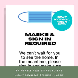Open House Corona Virus Signs - Instant Download | house tour flyer, agent open house, open house flyer, open house sign, wear mask sign