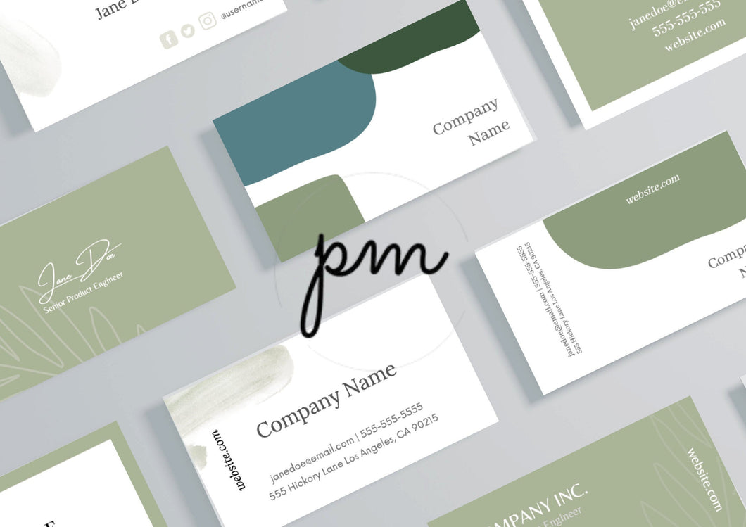 Green Business Card Bundle - Leaf business card, natural business card, organic business card, modern business card, canva card