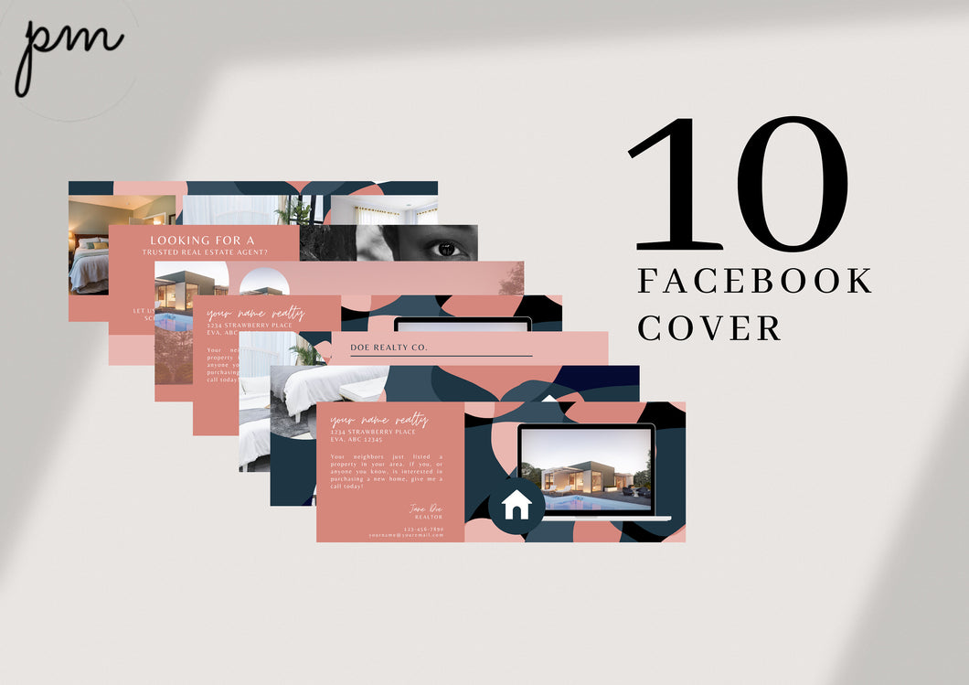 10 Real Estate Agent Facebook Cover Templates, Real Estate Banner Photo Header, Canva Realtor Marketing Graphics, Editable Branding