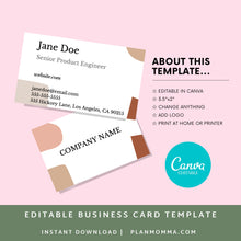 Load image into Gallery viewer, Boho Business Card - Instant Download | Abstract card, modern business card, printable business card, canva business card, premade card