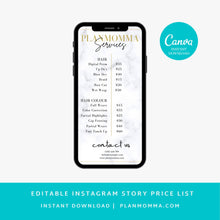 Load image into Gallery viewer, Marble Instagram Story Price List - DIY, Editable Instagram Post Price list, Instagram story template, Business Price List,Makeup Price List