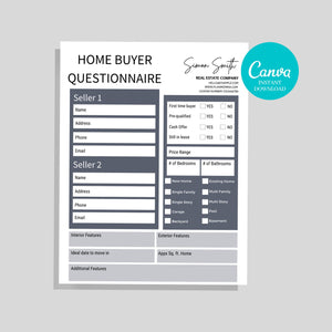 Home Buyer Checklist - Real Estate Flyer, Realtor Template, Real Estate Form, Canva Realtor Template, Real Estate Tool, Print Ready, PDF