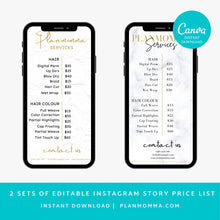 Load image into Gallery viewer, 2 set of Marble Instagram Price List Story - Editable Instagram Story Price list, Beauty Salon Price List, DIY, Instagram Story Templates